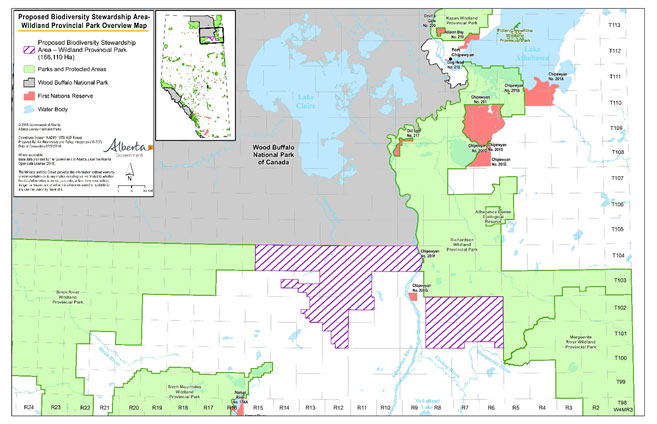 Map of Proposed Biodiversity Stewardship Area Wildland Provincial Park in the Lower Athabasca Region