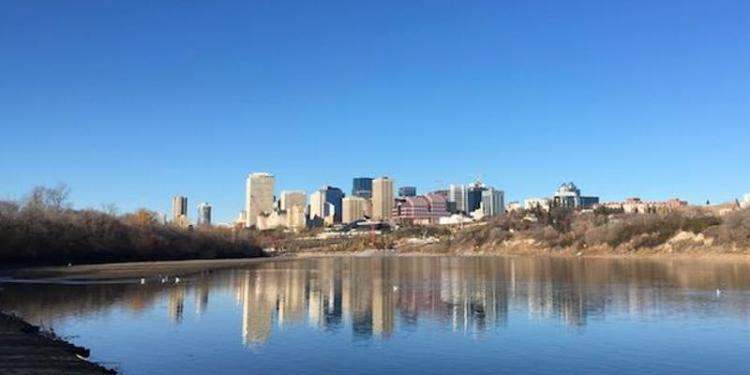 Photo of N Sask River with Edmonton skyline in background
