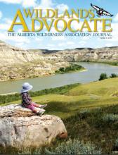WLA March 2020 Cover with a young girl overlooking the S Sask River